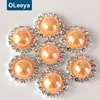 Blinginbox supplier wholesale 15mm plastic orange ab colors half round pearl beads silver rhinestone buttons for clothes
