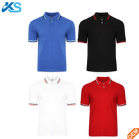 Wholesale Men's plain 100% cotton Tipped Collar pique Polo Shirt