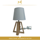 Pine color + white T / C cloth cover eye protection hotel bed side table lamp