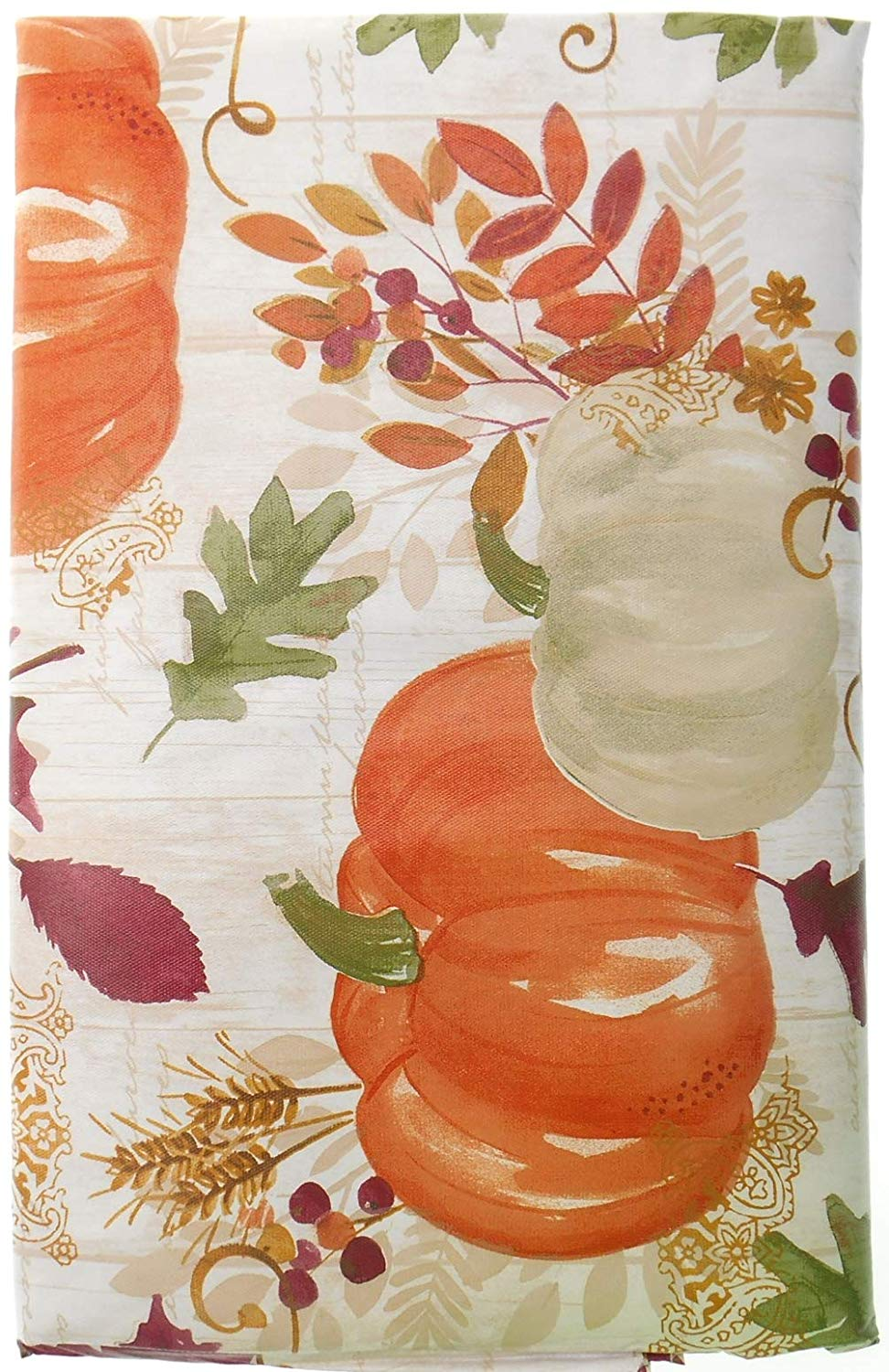 Pumpkins And Leaves On White Background Fall Vinyl Tablecloth Autumn With Flannel Backing