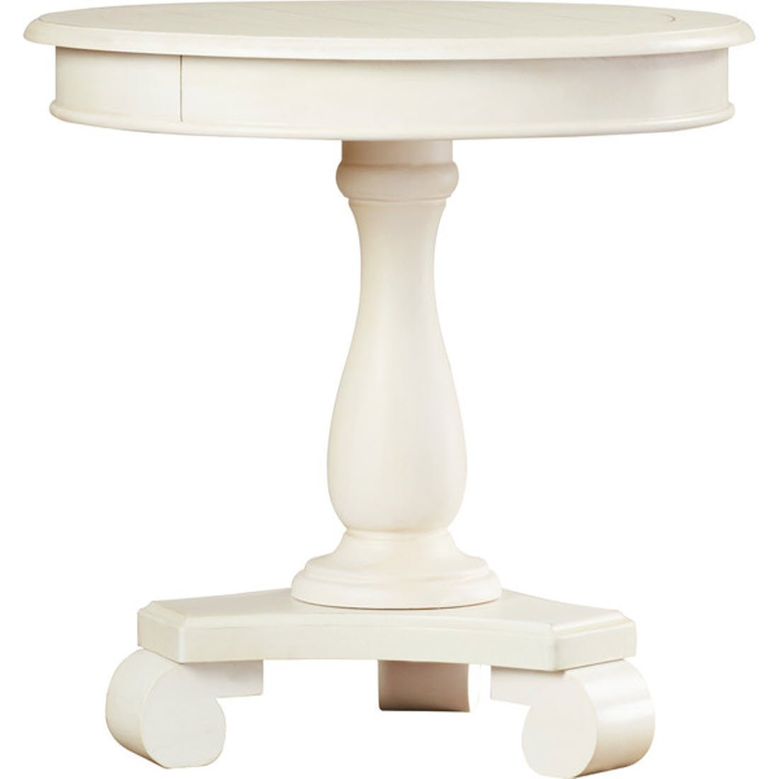 Bezons End Table - French Country Style - Made with Select Veneer and Hardwood Solids - Round Shape Table - Distressed Finish - 1 Year Warranty! (White)