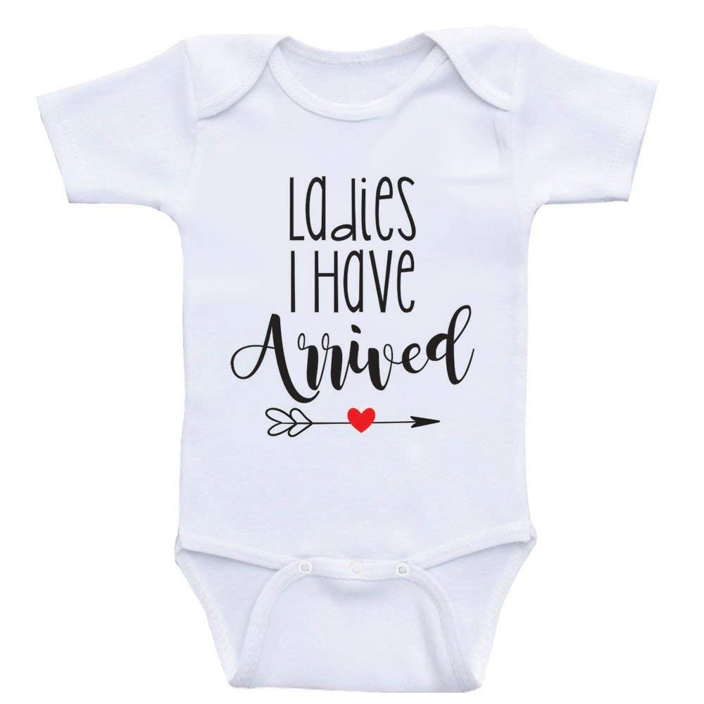 588707da1 Get Quotations · Heart Co Designs Funny Baby Boy Clothes Ladies I Have  Arrived Funny Baby Shower Gifts
