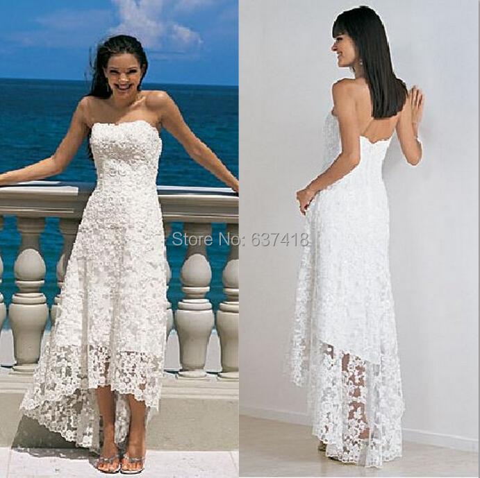 Vintage Lace Tea Length Beach Wedding Dress Short Sleeves: New-Short-Hi-Low-Vintage-Lace-Wedding-Dress-Beach-Wedding