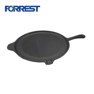 Cast iron sizzler steak skillet plate with handle