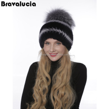 Lovely Korean Style Real Rabbit Fur Winter Beanie Animal Ear Hat