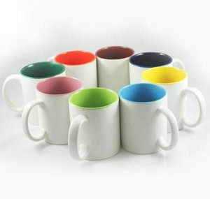 350MLcheap ceramic mug for sublimation printing, inside color outside white mug for Christmas gift