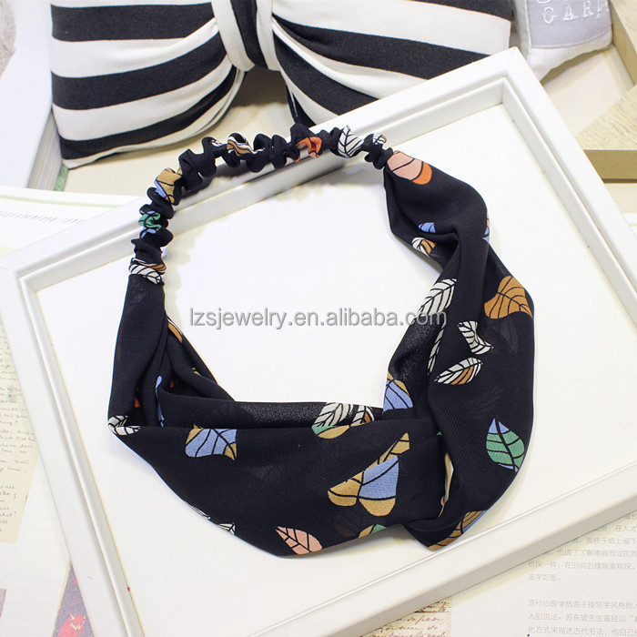 Funny Chiffon Printing Women Headband Decorative Elastic Wide Wholesale