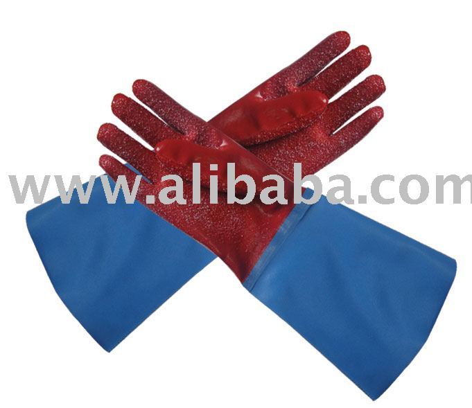 Red PVC Glove Reinforced Cuff-Finishing Glove-Work Glove