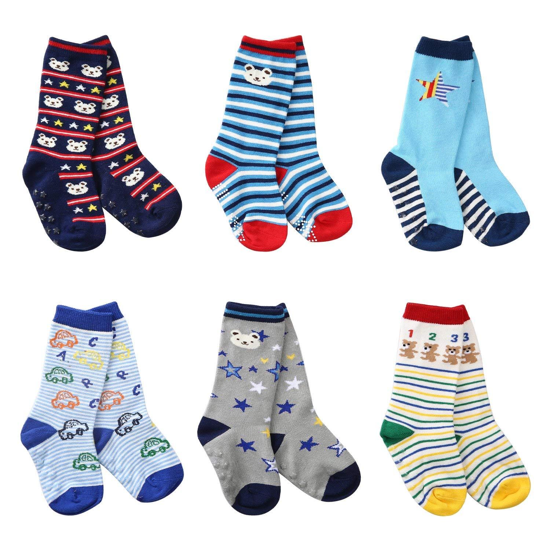 La Voulpte Baby Boys Knee High Cotton Socks Non Skid Toddler Socks(6 pairs)