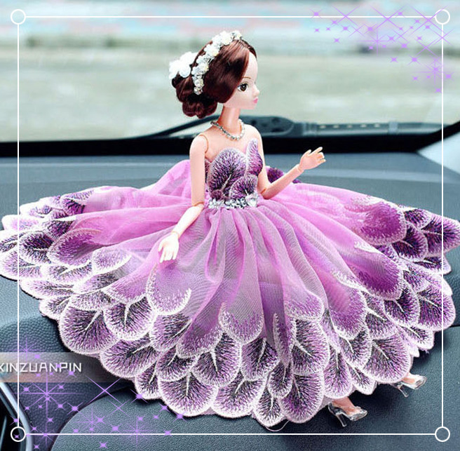 Handicraft cute grenadine grenadine Barbie doll for wedding car decoration home decoration gift