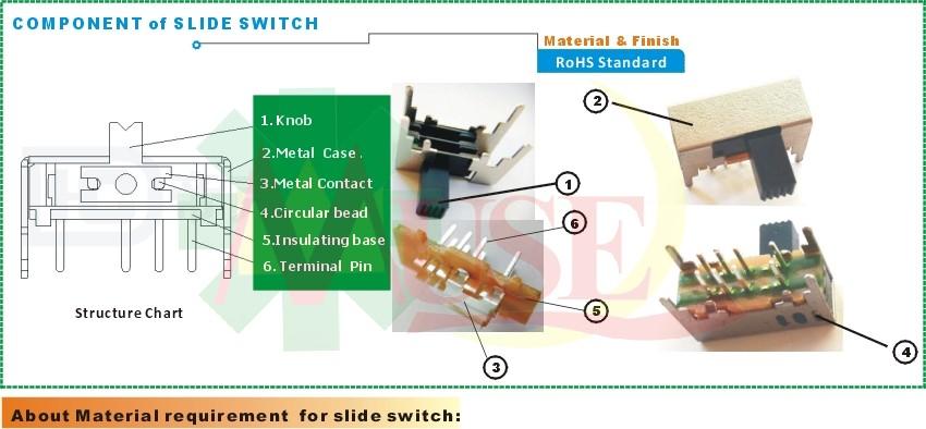 Hohe Qualität Messing Versilbert Pins SMD Mini Schiebeschalter 8 Pin