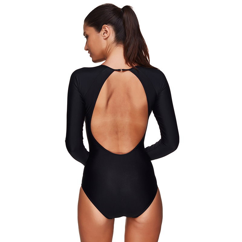 dcbc26d08e215 2019 Swimwear Women One Piece Swimsuit Long Sleeve Plus Size Sexy ...