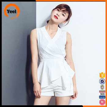 Hot selling woman casual sleeveless asymmetric tops blouse