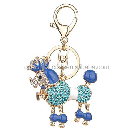 2018 Wholesale Cute Dog Crystal Metal Keychain For Woman Gift