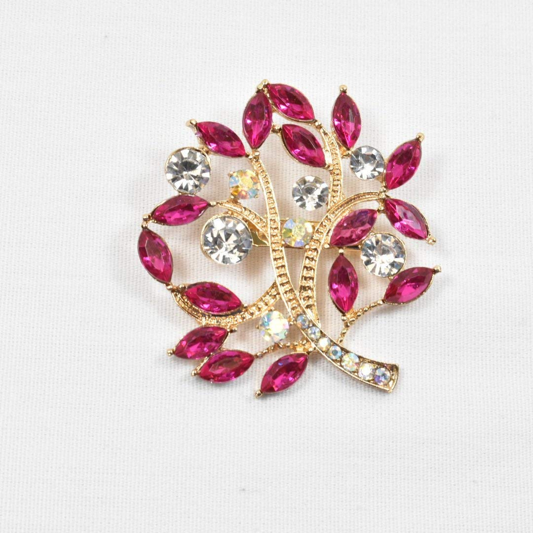 Hot Pink Floral crystal rhinestone brooch, wedding brooch, Magenta pink Bridal brooch,wedding cake accessories,bridal jewelry,Pink Brooches