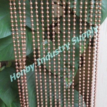 Hanging 8mm Shimmer Copper Color Metal Bead Curtain For Doors