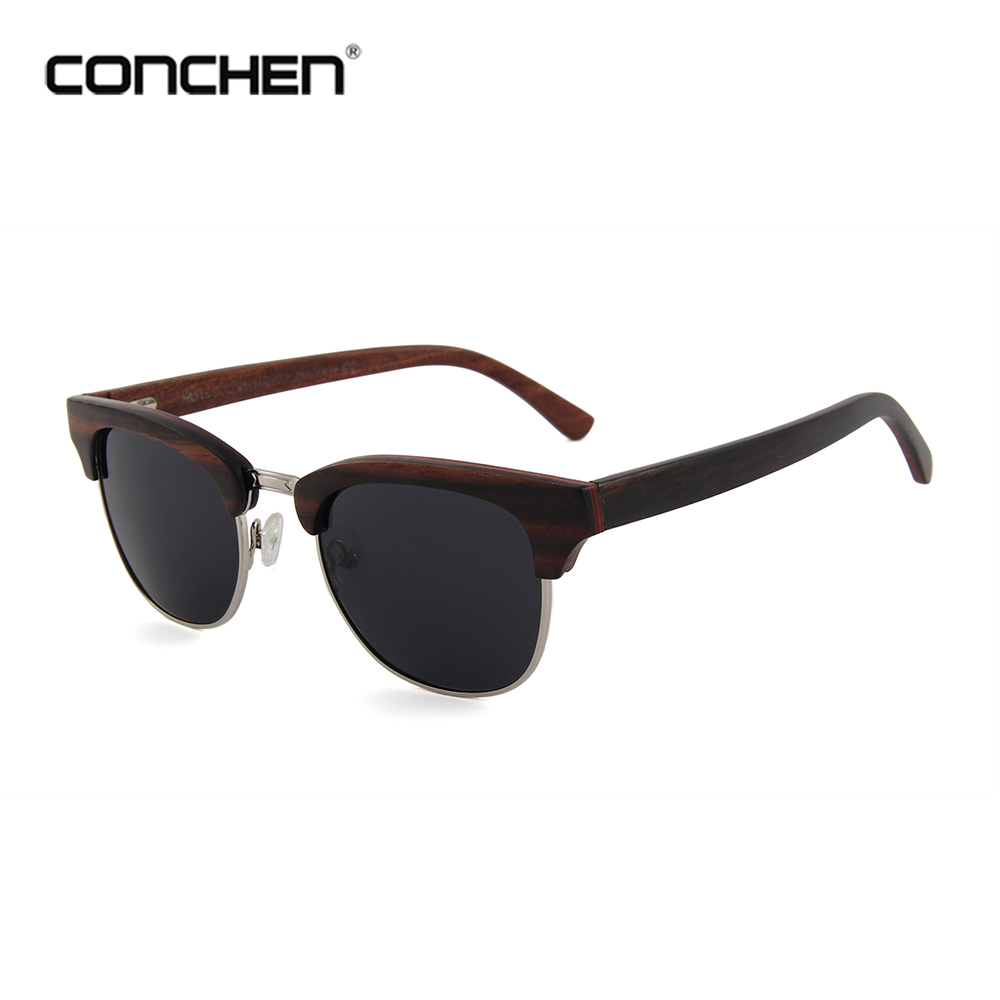 Conchen classical products gafas sun glasses wooden sunglasses semi-frame sunny
