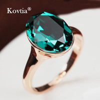 High quality Fashion Green Crystal Wedding Ring Plated Real Gold Jewelry Diamond Engagement Ring For Women