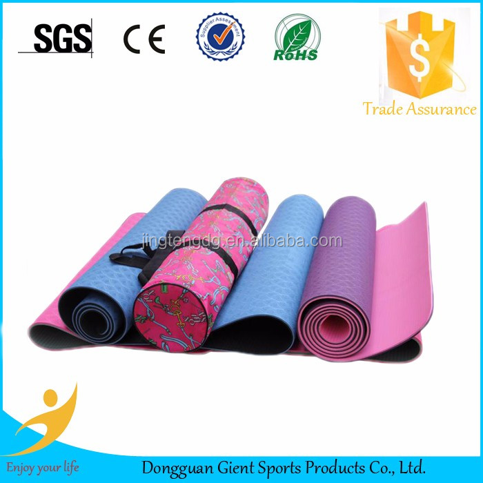 Eco-friendly 6mm Thick TPE Yoga Mat with free bag and rope