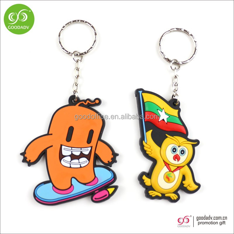 Wholesale 3d cartoon character customized soft pvc rubber keychain