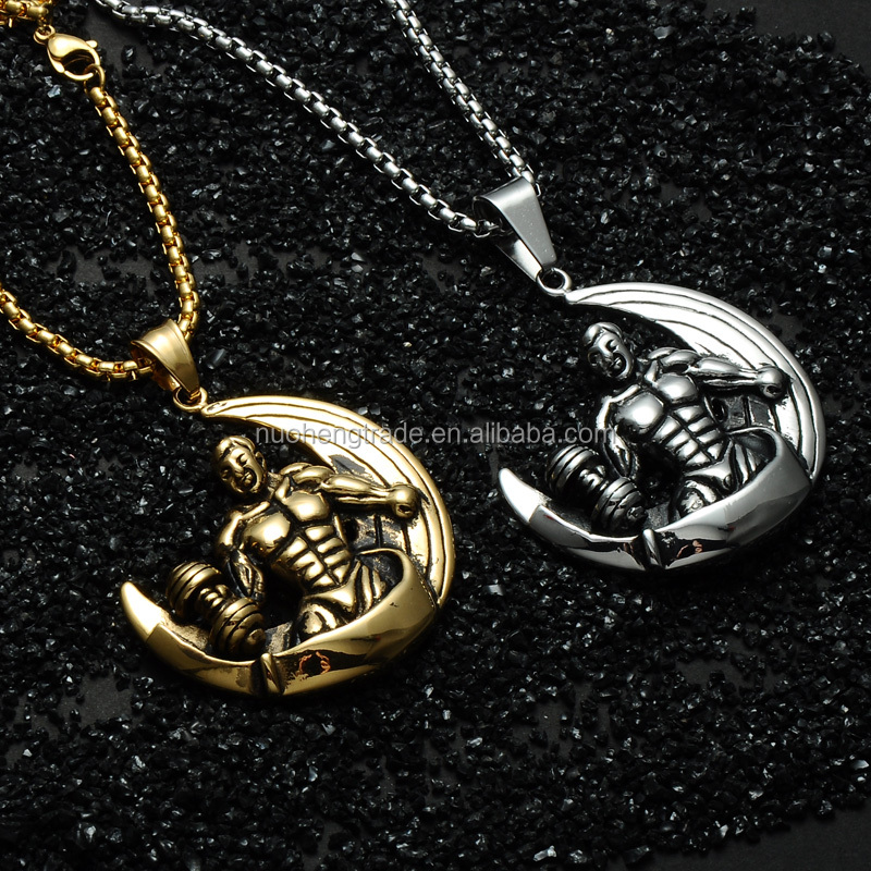 316L Stainless Steel Moon Muscle Man Necklace Dumbbell Pendant Bodybuilding Fitness Jewelry фото