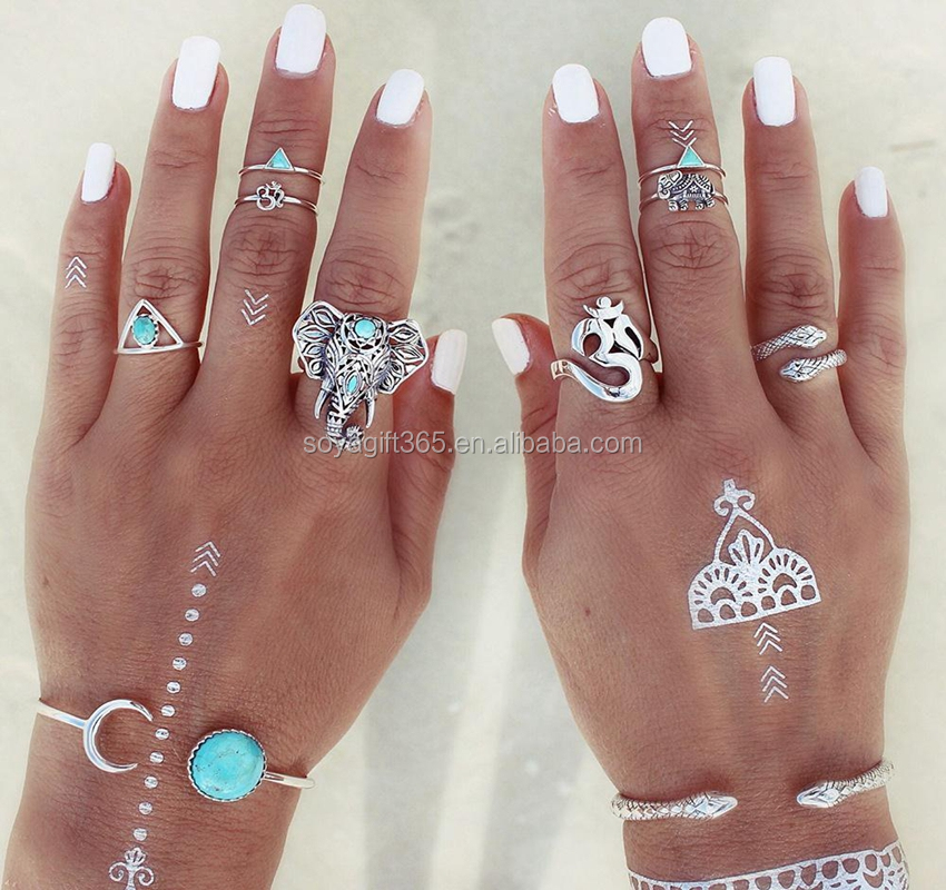 8PCS/Set Antique Silver Plated Vintage Bohemian Turkish Midi Ring Set Turquoise Ring Knuckle Rings For Women