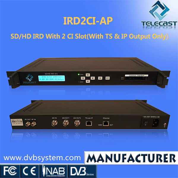 High quality Digital IRD with CI Slot for Irdeto Conax Viaccess
