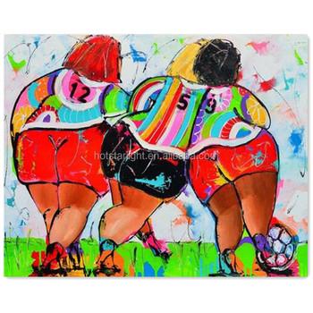 Tres Mujeres Gordas Fútbol Moderno Dibujos Animados Diamante Pintura