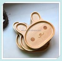 Rabbit Appetizer Platter Wood 3 Compartment Plate