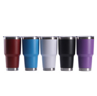 Free Shipping Custom Leaking Proof Powder Coated 30 oz Stainless Steel Vacuum Insulated Tumblers