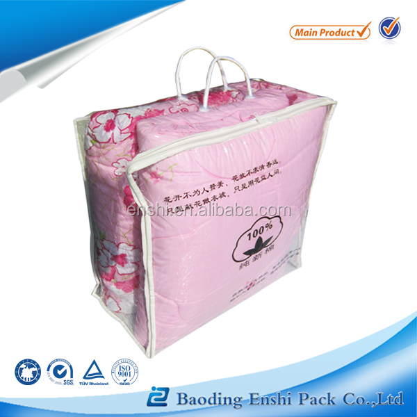 0.2mm pvc,Plastic Material and Screen Printing Surface Handling clear vinyl pvc zipper blanket bags