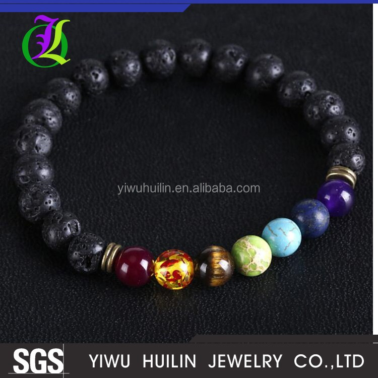 JTBR1001 Yiwu Huilin Jewelry Natural lava stone energy volcanic stone chakra seven colorful Buddha beads bracelet wholesale