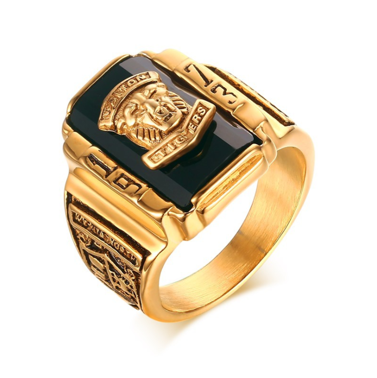Western Style Golden Marine Carving Tiger Titanium Steel Men's Ring In Stock For Man фото