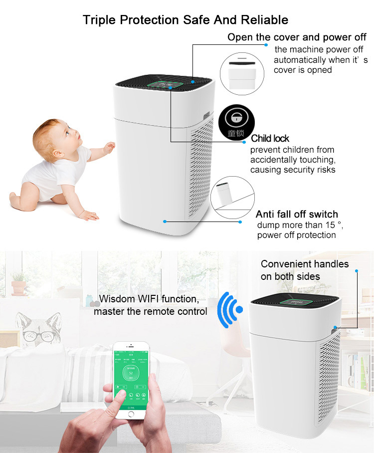 China manufacturer home room return pulley air purifiers Wifi APP Remote Control anion air purifier