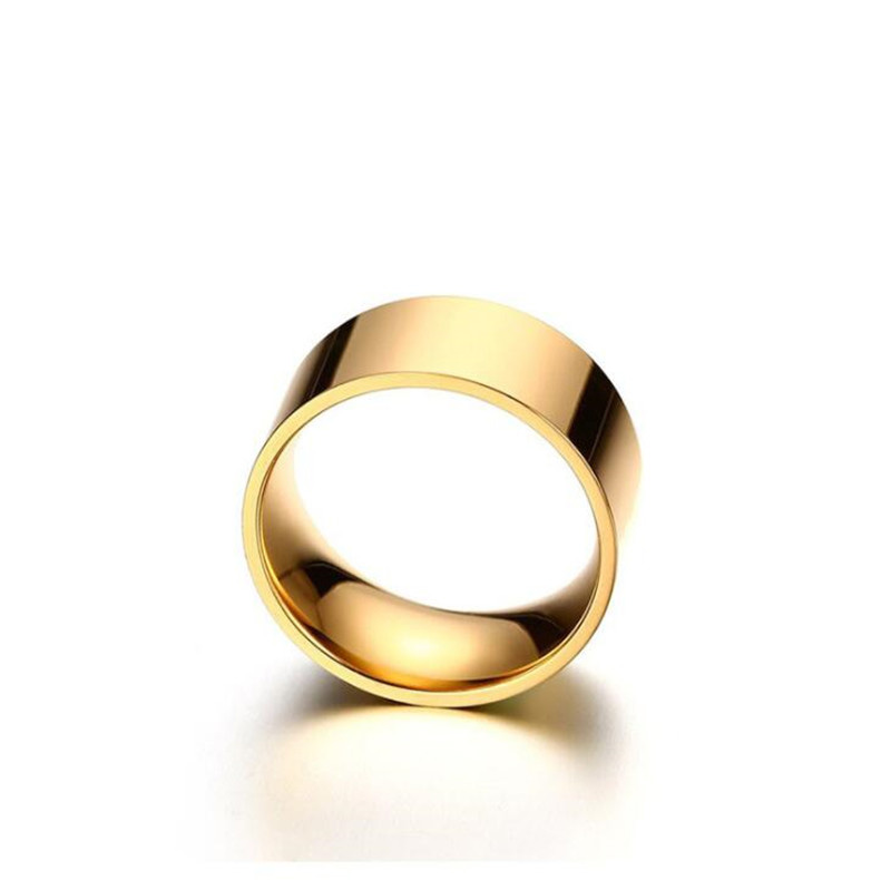 10 mm Wide 316 L Stainless Steel 18K Gold Plated Men Blank Band Ring