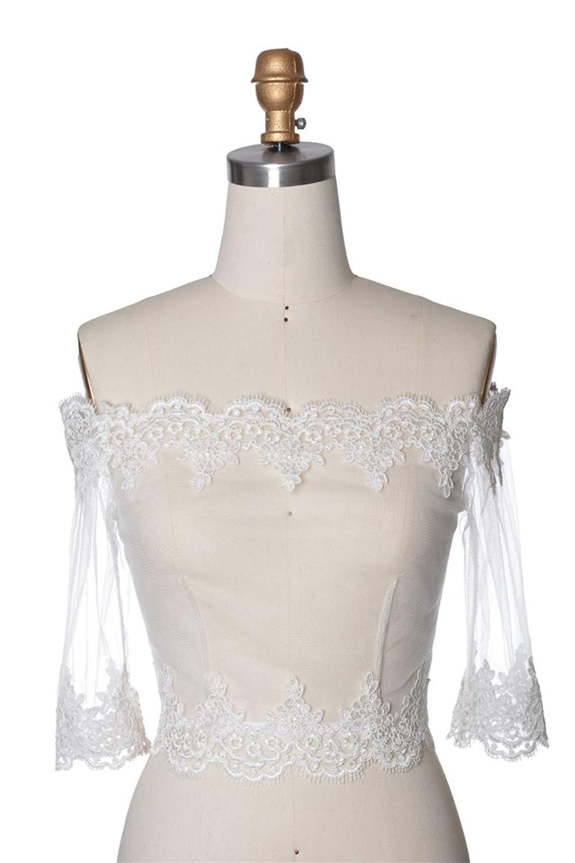 Ivory Windsor Lace Bolero Straight Sleeve
