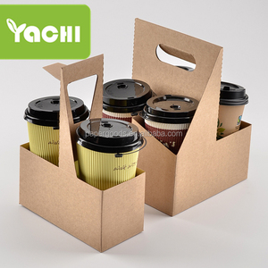 disposable kraft paper cup holder tray with handle