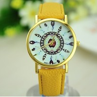Original Women Genuine Leather Vintage Women Watches,Bracelet Wristwatches, Feather Dial watches aliexpress hot