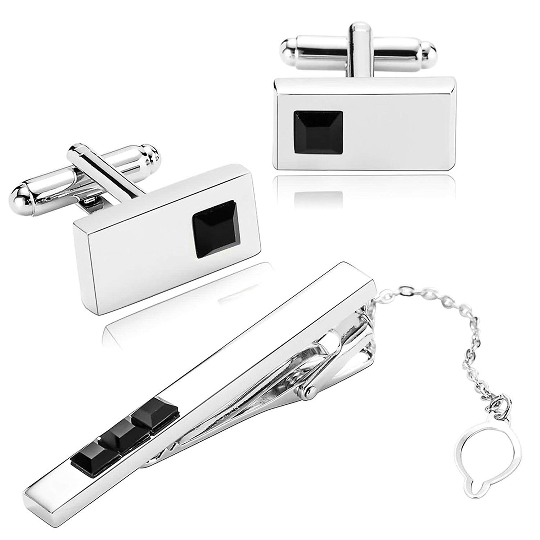 Aooaz 5 Styles Stainless Steel Cufflinks and Tie Cilp Set for Mens 3ocs Classic Cufflinks Shirt Gift H07