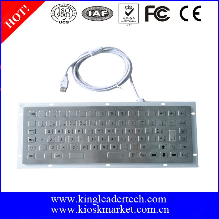 86 Flat keys panel mount metal keyboard with function keys