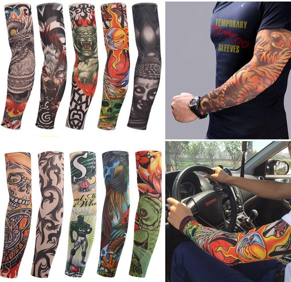 80073592c Get Quotations · 10 PCS Fake Tattoo Elastic Arm Sleeve for Sunscreen-  Designs Tribal, Dragon, Skull
