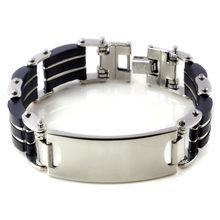 AOMU 2017, модные ювелирные изделия, черный силиконовый микс, браслеты из нержавеющей стали и браслеты, горячая индивидуальность, классический ...(Китай)
