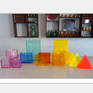 custom color acrylic box light color triangle box light yellow triangle tray five sides box