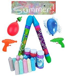 Summer Splash Pack! Water Toys for the Perfect Summer Pool Party! 400 WATER BALLOONS + Tap Filler, 3 Water Pistols, 1 Water Squirter, Sidewalk Chalk (10 pack ) & 3pk of Bubbles – Good For ALL Ages!