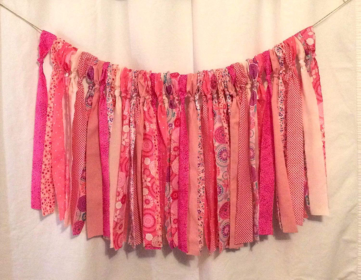 Pink Hippie Valance Curtains (Colorful Banner, Party Decor, Highchair Banner, Photo Prop, Wall Decor, Mantle)