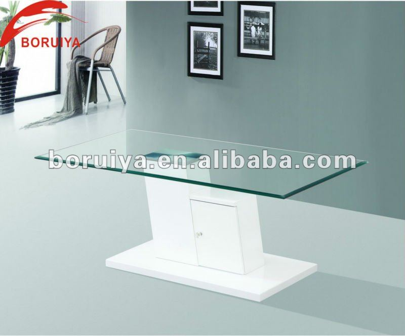 Modern Tea Table Design Wooden Leg Glass Lift Top Coffee Table