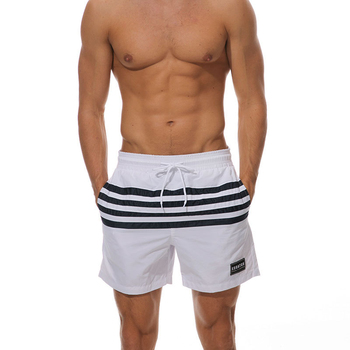Summer Men's Fast Dry  Casual Striped Beach Shorts