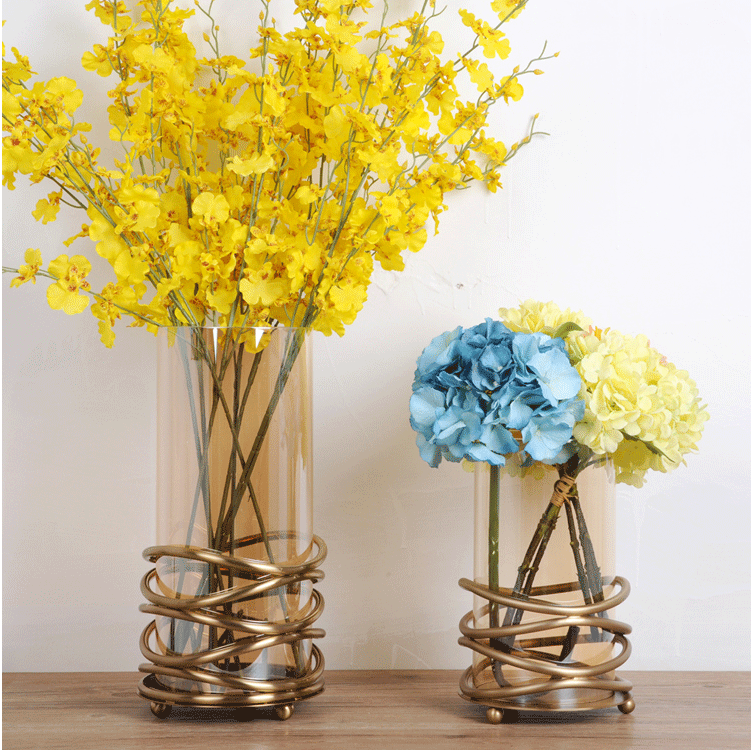 Оптовая продажа индийского стекла золотой свадебный цветок ваза для украшения стола