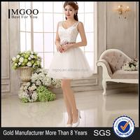 Wholesale Bridesmaid Dress Small Bride Toast Slim Wedding Dress Tank Shoulder V Neck Lace Short Wedding Dress