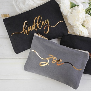 Fast delivery 100% cotton cosmetic pouch makeup bag portable travel makeup bag canvas pencil pouch with custom logo